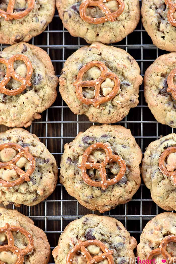 Aerial view of Chocolate Chip Pretzel Cookies on rack.