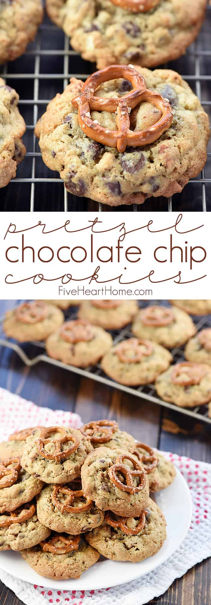 Pretzel Chocolate Chip Cookies Collage with Text Overlay