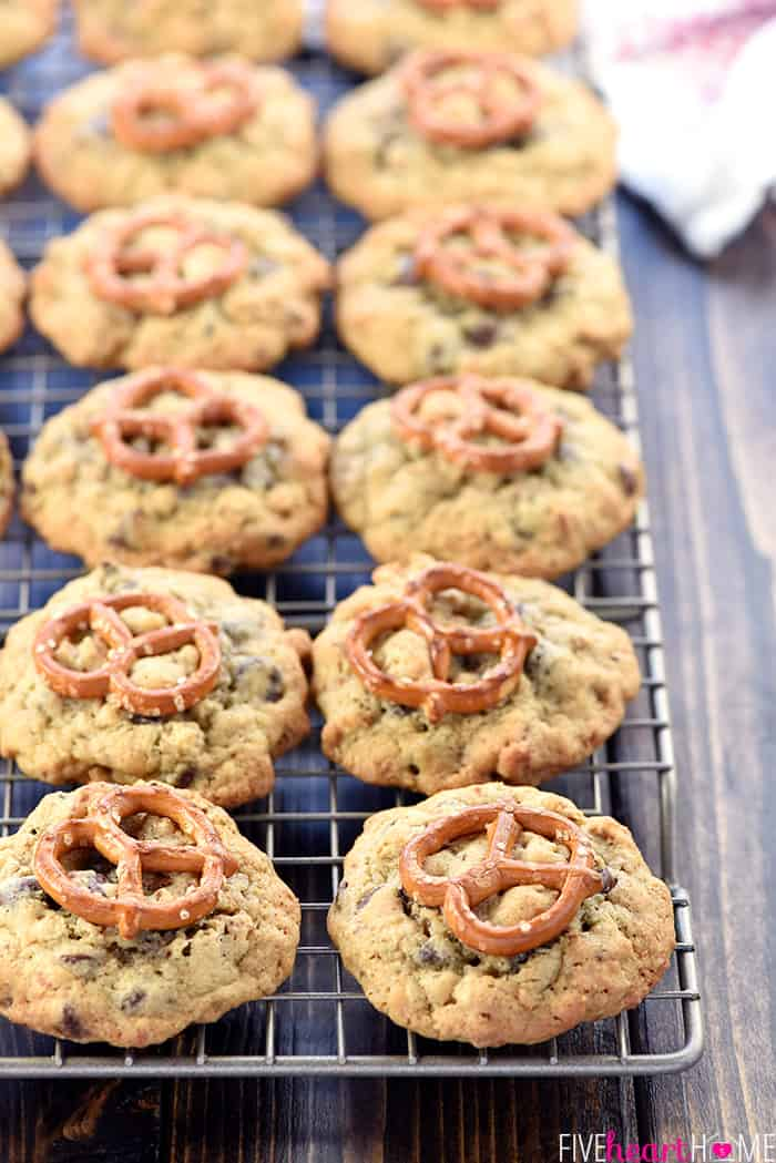 Pretzel Chocolate Chip Cookies ~ loaded with decadent chocolate chips and crushed pretzels for a delicious, chewy, sweet-and-salty treat! | FiveHeartHome.com