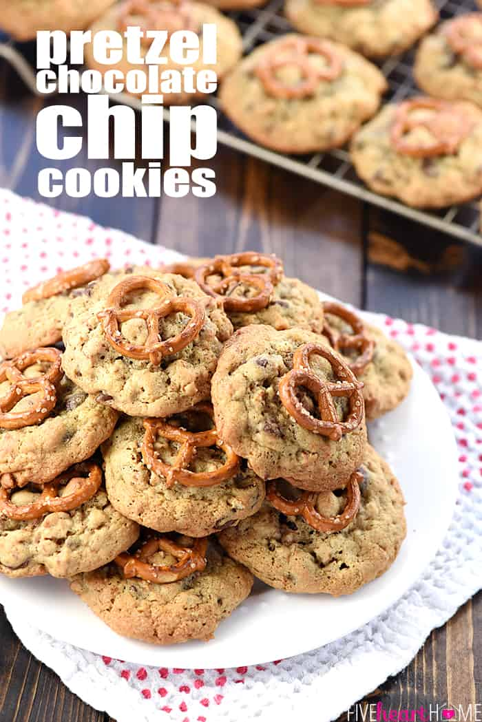 Chocolate Chip Pretzel Cookies with text overlay.