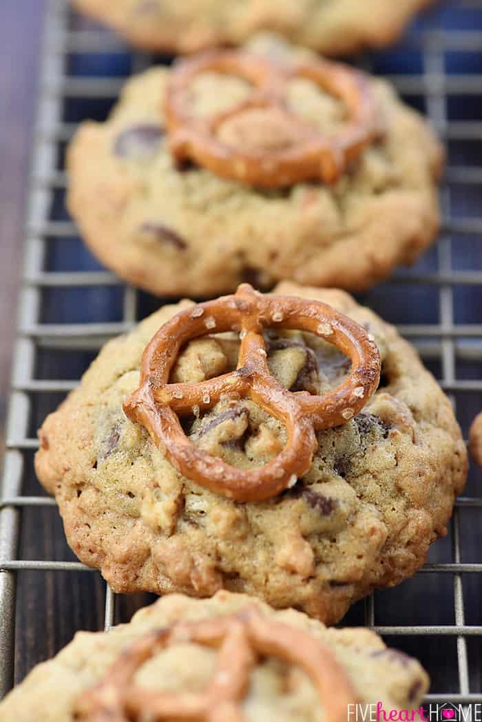 Zoom shot of row of Chocolate Chip Pretzel Cookies.