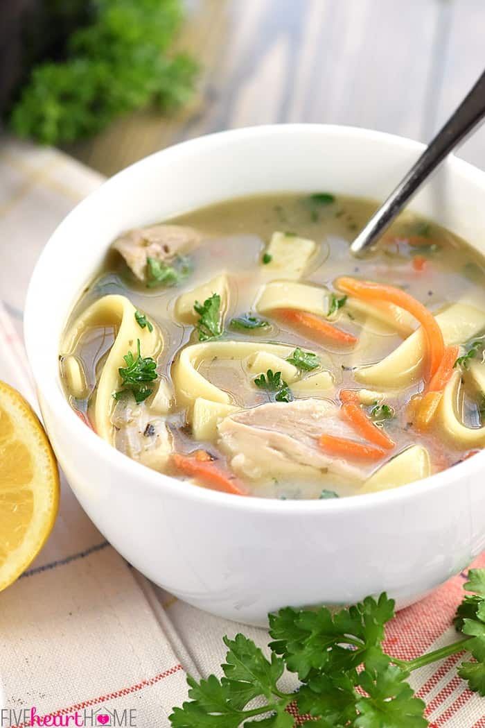 Bowl of Easy Chicken Noodle Soup with spoon.
