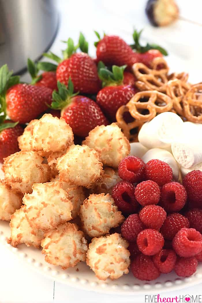 Platter Piled with Fruit, Pretzels, Macaroons and Marshmallows for Dipping