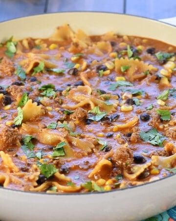 Taco Pasta in skillet.