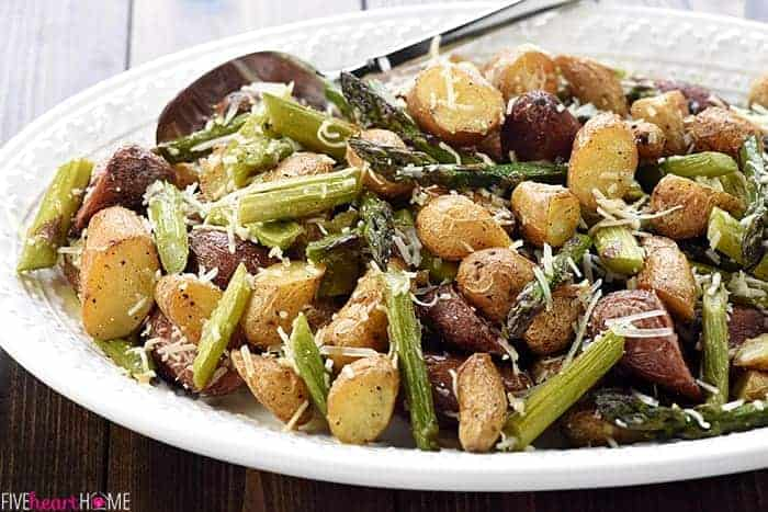 Cheesy Garlic Roasted Potatoes & Asparagus