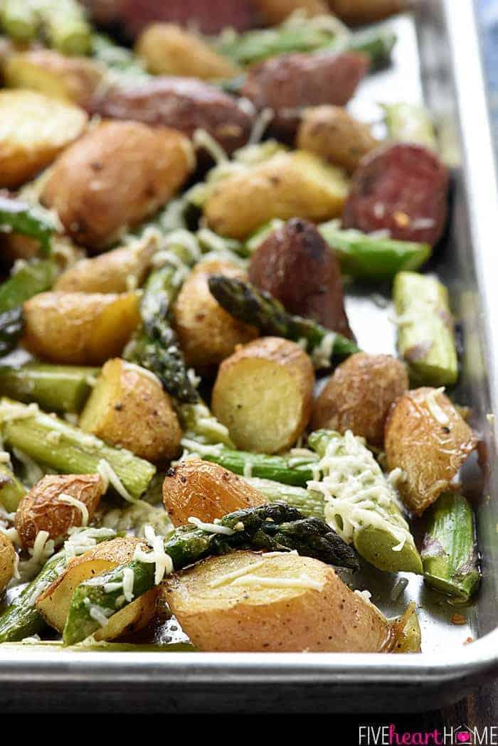 Close-up of veggies on baking sheet