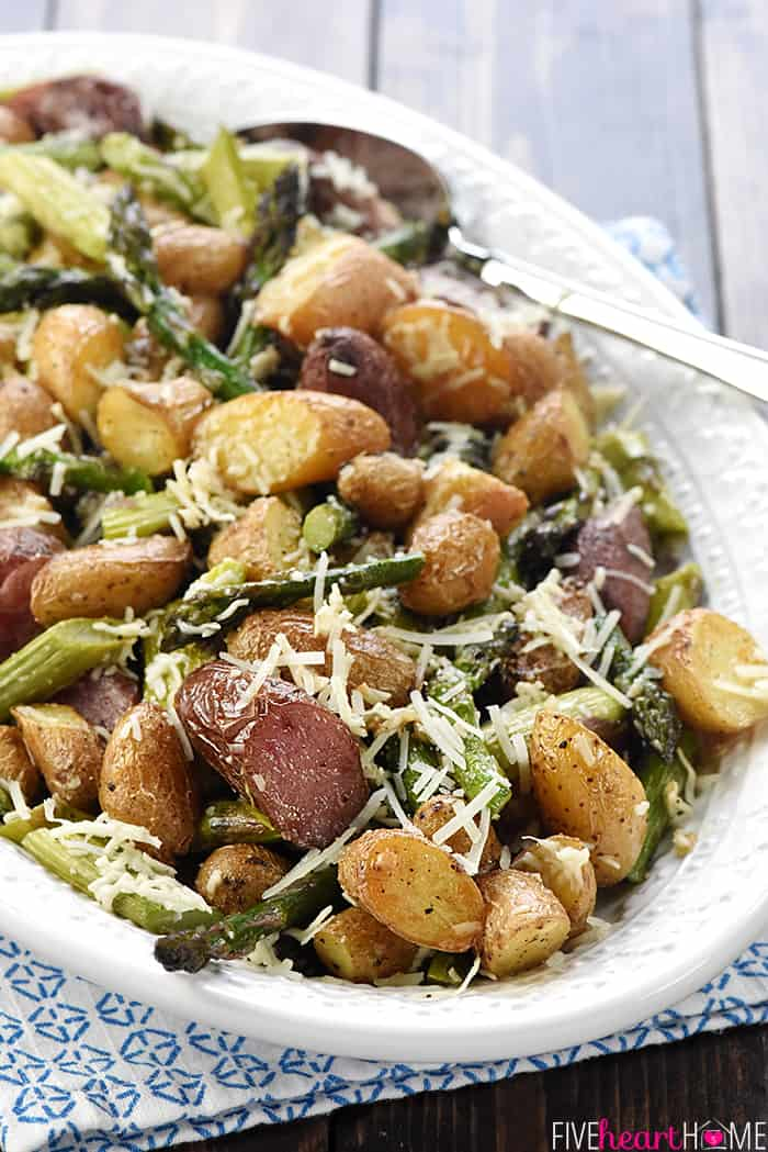 Cheesy Garlic Roasted Potatoes & Asparagus ~ an easy, one-pan, spring side dish recipe that makes a gorgeous, delicious addition to a special Easter meal or a regular weeknight dinner! | FiveHeartHome.com
