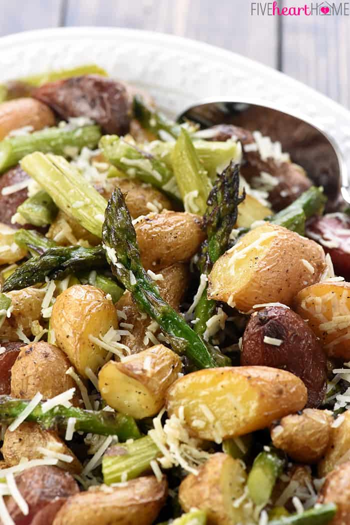 Close-up of potato and asparagus side dish