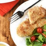 Crunchy Baked Chicken Tenders ~ juicy on the inside and crispy on the outside, the entire family will love this simple, delicious, chicken dinner!   FiveHeartHome.com