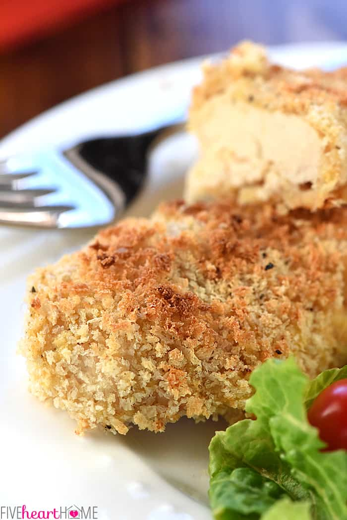Crunchy Baked Chicken Tenders ~ juicy on the inside and crispy on the outside, the entire family will love this simple, delicious, chicken dinner! | FiveHeartHome.com