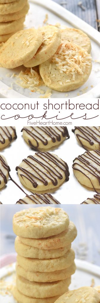 Easy Coconut Shortbread Cookies Collage with Text Overlay
