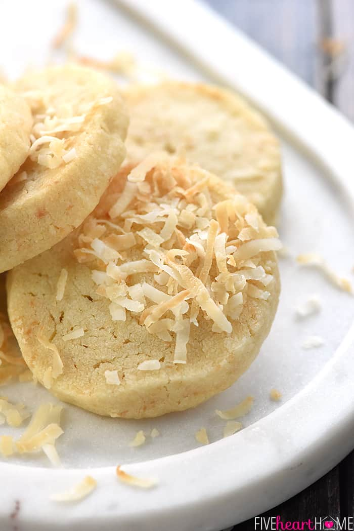 Easy Coconut Shortbread Cookies Close-Up