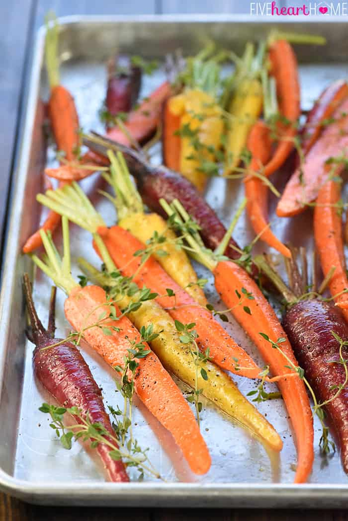 Roasted Rainbow Carrots with Thyme