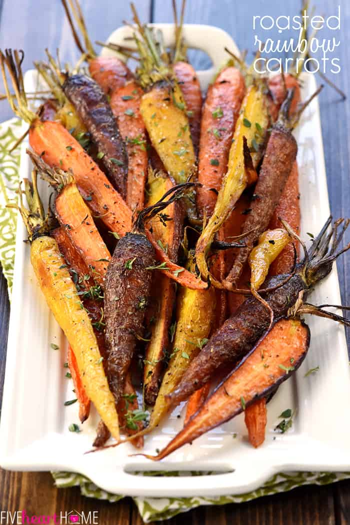 Roasted Rainbow Carrots on a platter