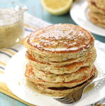 Whole Wheat Lemon Poppy Seed Pancakes ~ wholesome and delicious pancakes drizzled with a scrumptious Lemon Poppy Seed Syrup make a lovely spring or summer breakfast! | FiveHeartHome.com