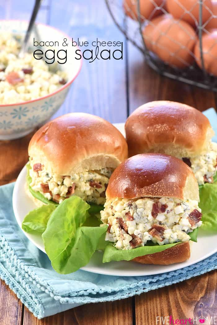 Egg Salad with Bacon and Blue Cheese with text overlay