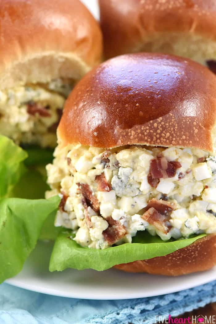 Bacon & Blue Cheese Egg Salad ~ a flavorful filling for sandwiches or lettuce wraps and a great recipe for using up leftover hard-boiled eggs! | FiveHeartHome.com
