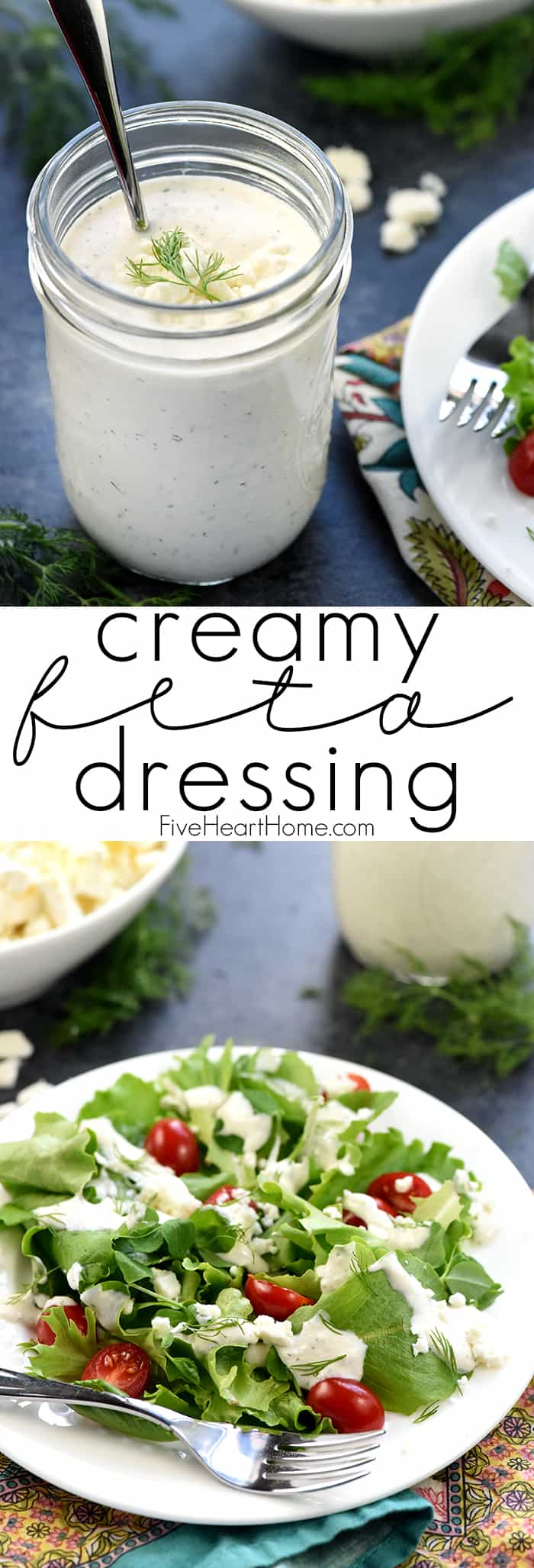 Creamy Feta Dressing Collage with Text Overlay