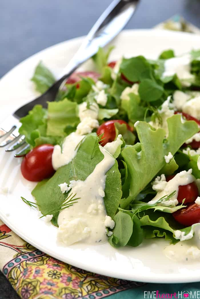 Creamy Feta Dressing Atop a Plated Salad