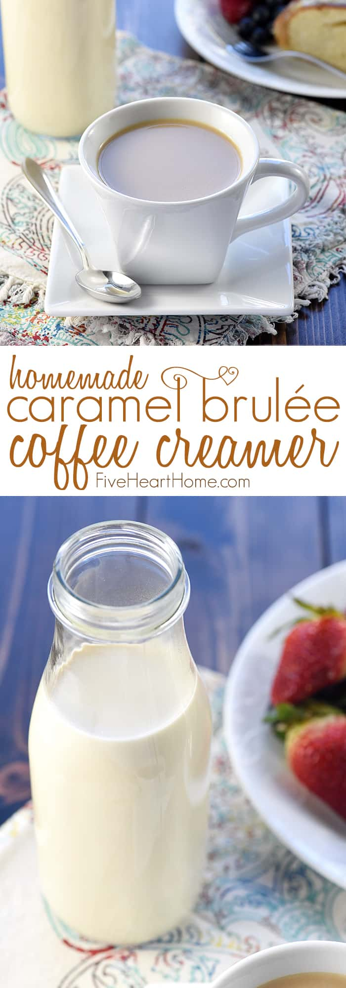 Caramel Brulée Coffee Creamer ~ a quick and easy homemade recipe for making Copycat Starbucks Caramel Brulée Lattes at home! | FiveHeartHome.com