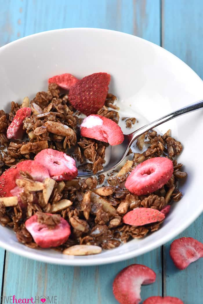 Nutella Strawberry Granola in a bowl with milk