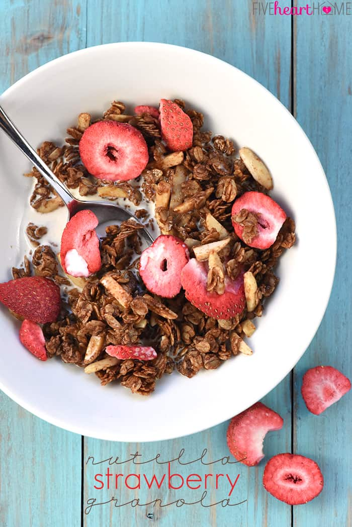 Nutella Strawberry Granola with text overlay