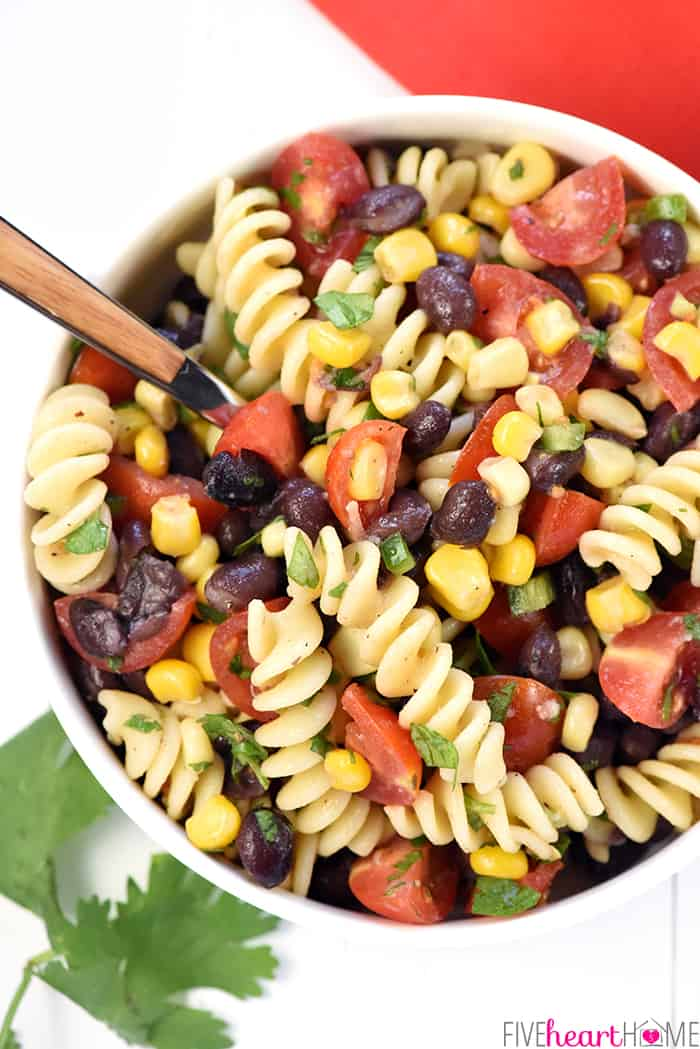 Aerial View of Mexican Pasta Salad