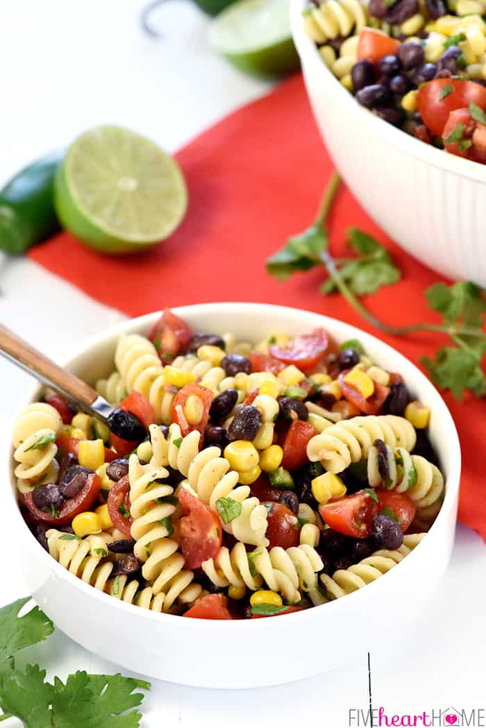 Fiesta Pasta Salad in White Serving Dish with Fork