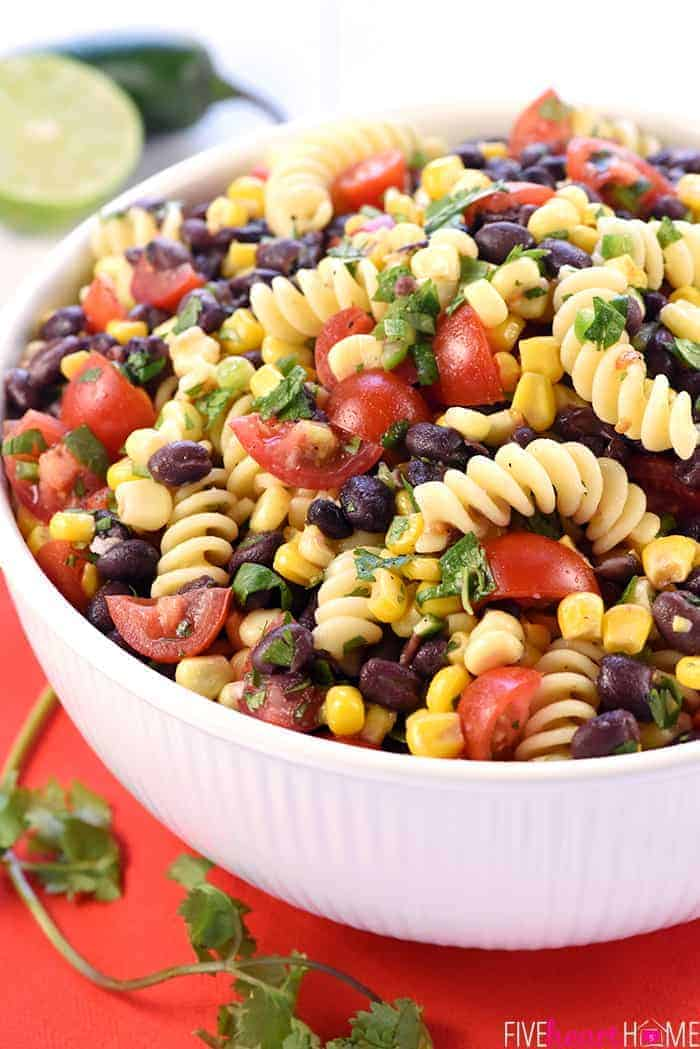 Close-up of Mexican Pasta Salad in white serving bowl