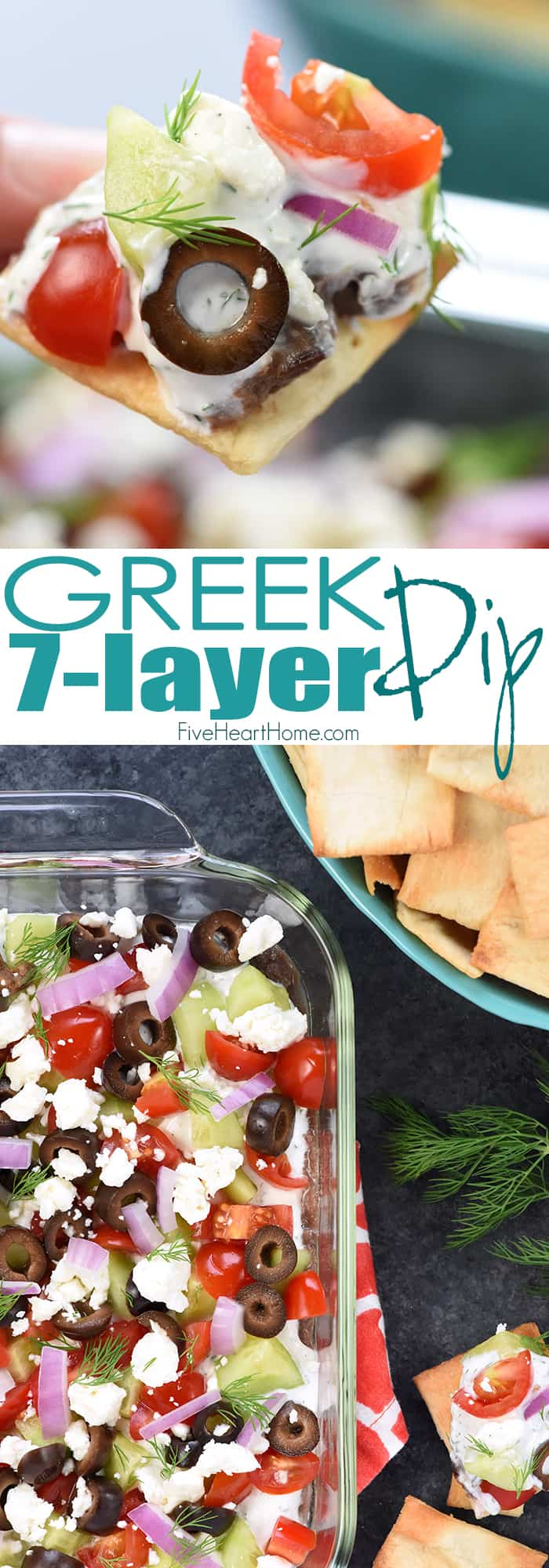Greek 7-Layer Dip Collage with Text Overlay