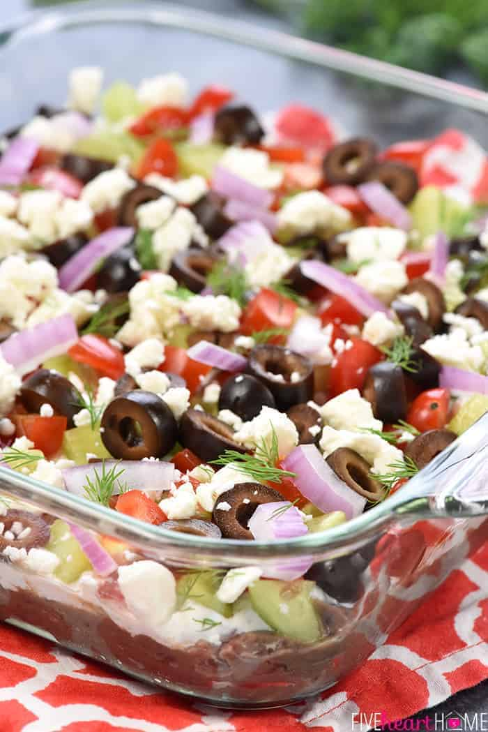 Greek 7-Layer Dip in Glass Dish
