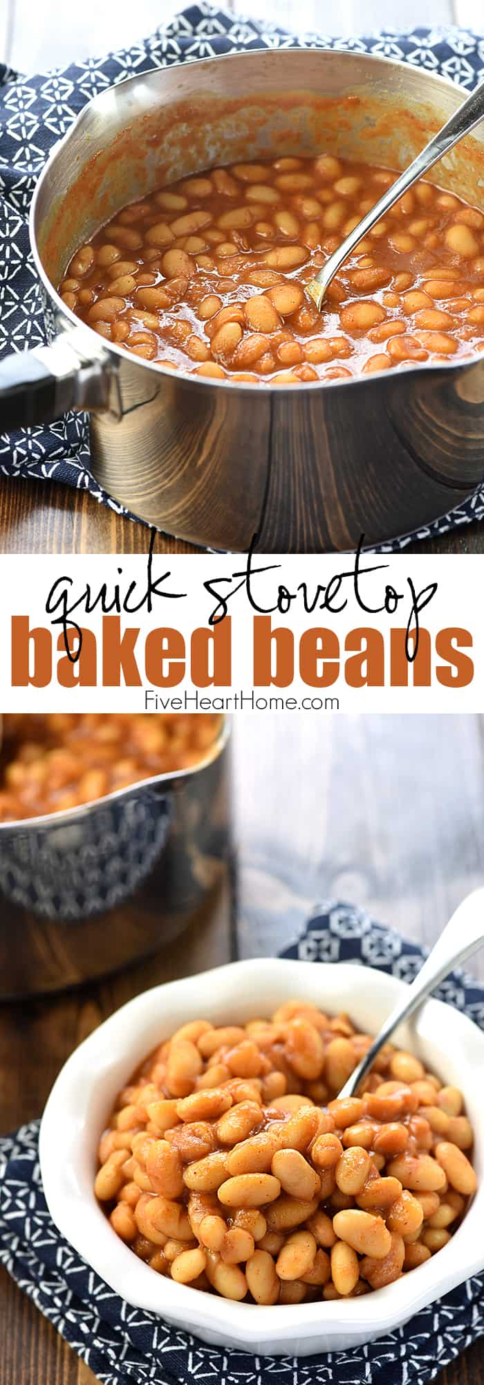 Quick Stovetop Baked Beans ~ a quick and easy, 5-ingredient recipe that dresses up canned white beans for a versatile dinnertime side dish! | FiveHeartHome.com