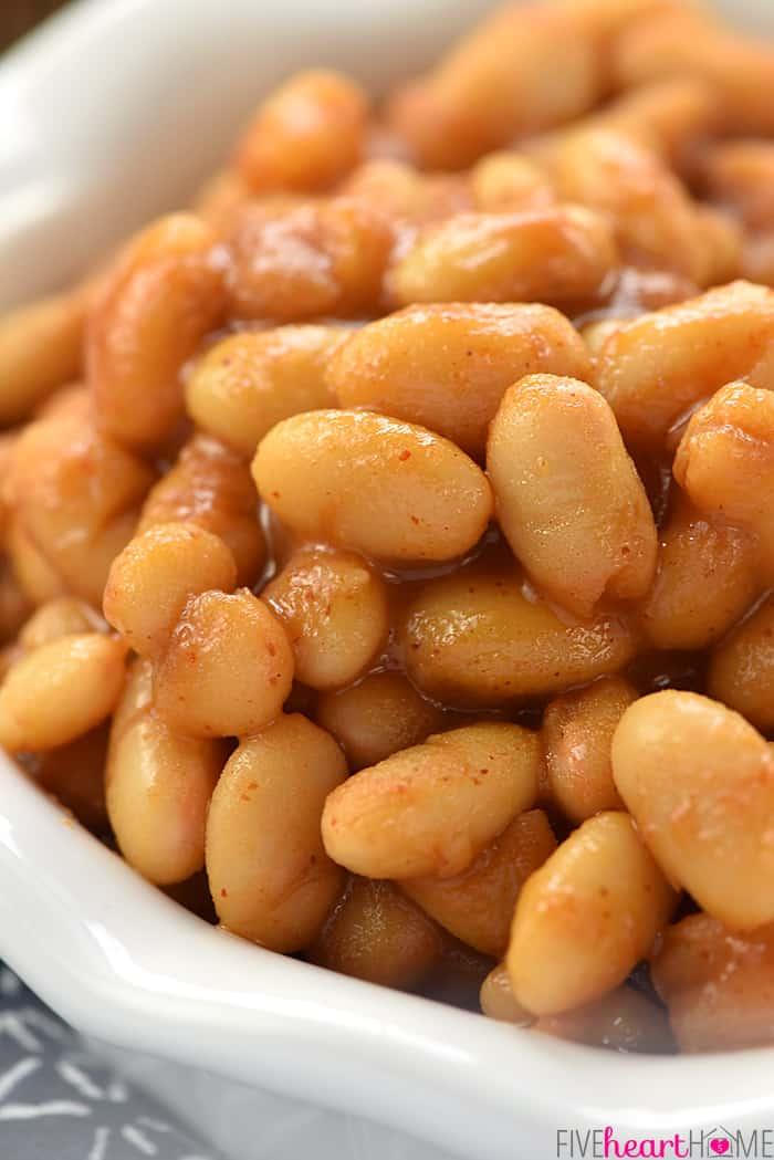 Quick Stovetop Baked Beans Close-Up