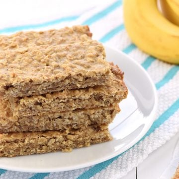 Soft-Baked Banana Oatmeal Bars ~ loaded with wholesome ingredients for a yummy, portable breakfast or snack! | FiveHeartHome.com