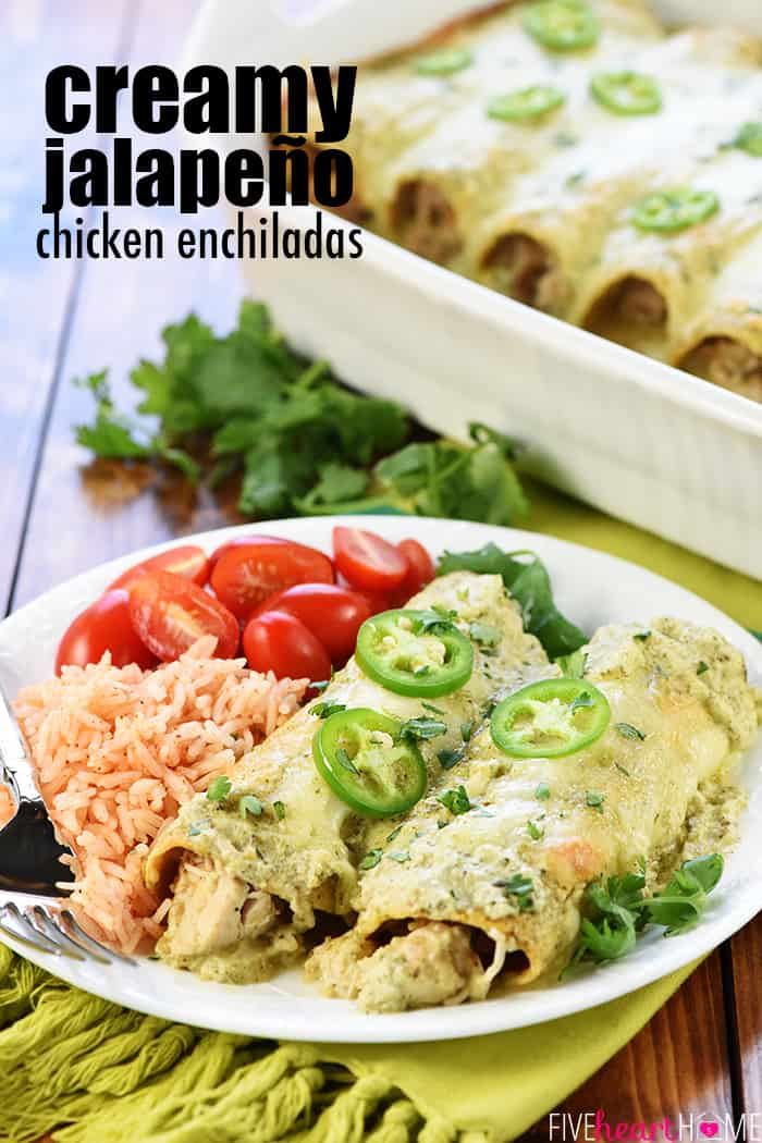 Creamy Jalapeño Chicken Enchiladas ~ cheesy, flavorful, and smothered in copycat Chuy's Creamy Jalapeño Dip for a dinner that's sure to become a family favorite! | FiveHeartHome.com