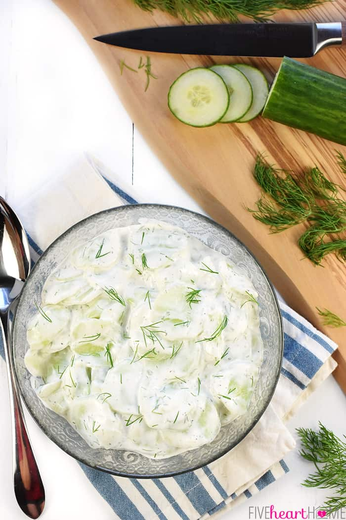Creamy German Cucumber Salad, AKA Gurkensalat ~ a fresh and simple side dish featuring thinly sliced cucumbers in a sour cream and dill dressing! | FiveHeartHome.com