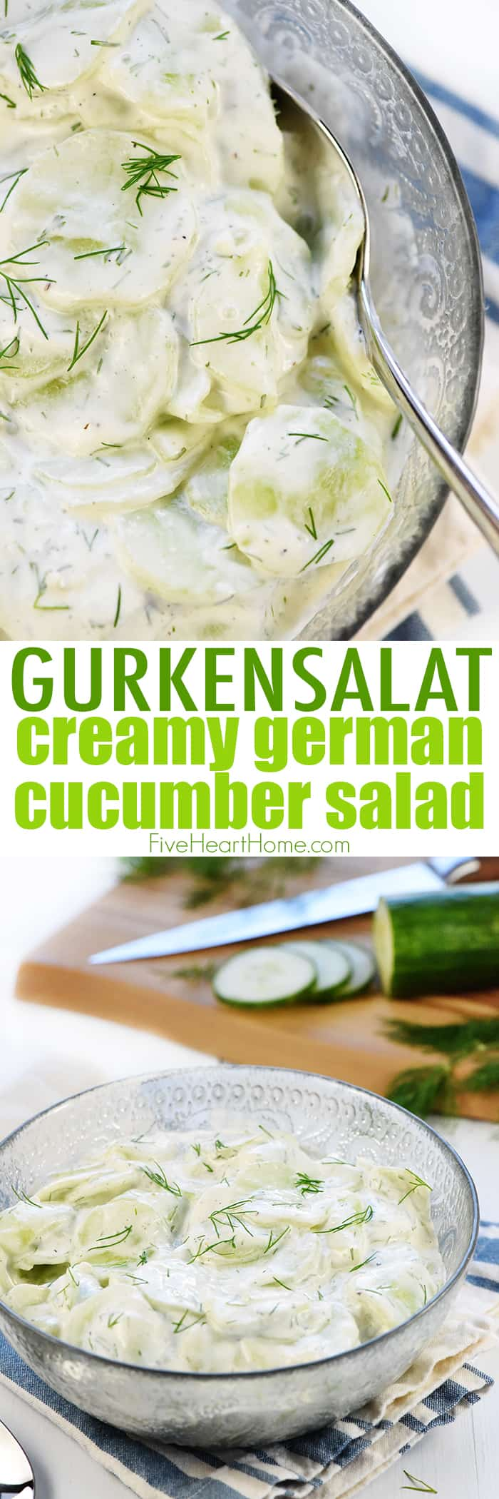Creamy German Cucumber Salad Photo Collage with Text Overlay