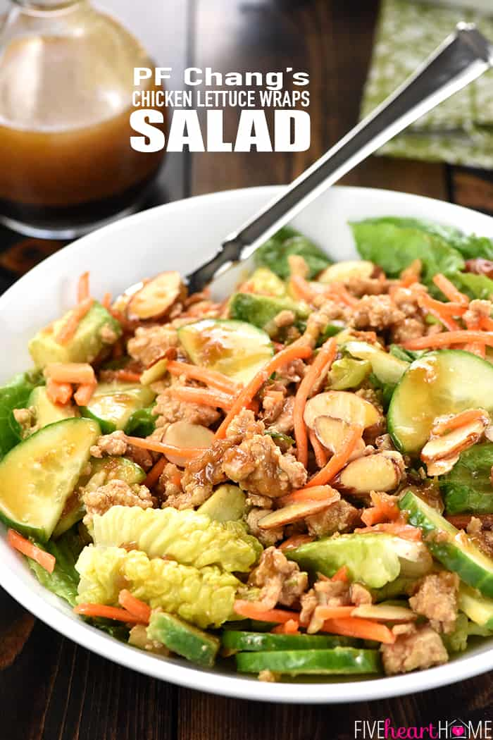 P.F. Chang's Chicken Lettuce Wraps Salad with Text Overlay