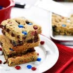 M&M Chocolate Chip Cookies Bars ~ these thick, chewy, big-batch treats are simple to make, fun to share, easy to customize with different colored M&Ms, and always a huge hit! | FiveHeartHome.com
