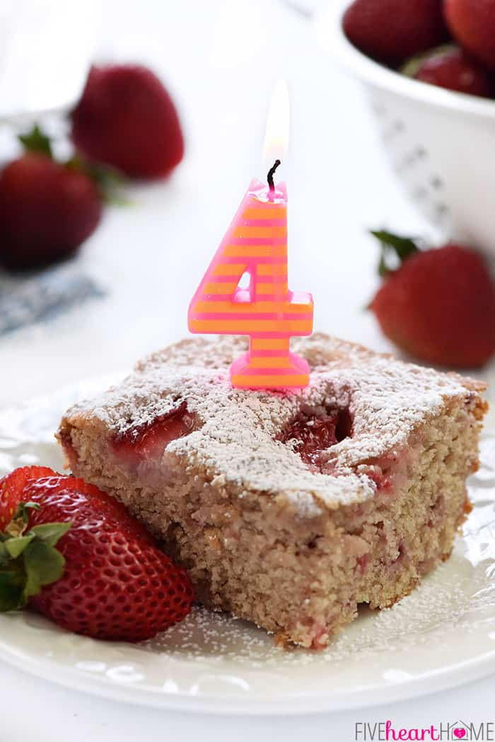Strawberry Snack Cake ~ soft, moist, and easy to make, loaded with sweet, ripe strawberries, creamy buttermilk, and a shower of powdered sugar on top! | FiveHeartHome.com