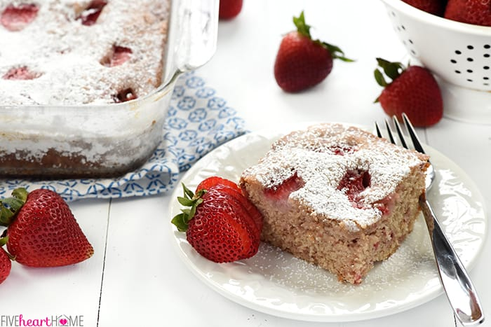 Strawberry Snack Cake + Five Heart Home's 4th Blogiversary GIVEAWAY!