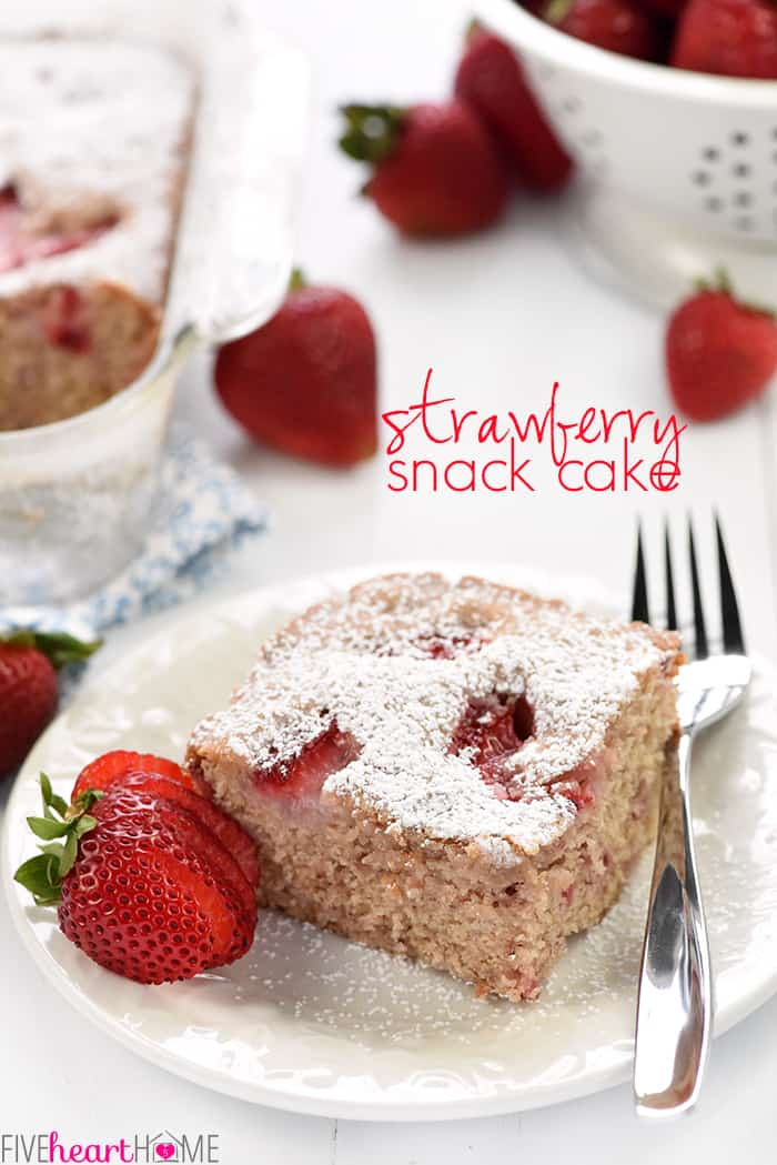 Strawberry Snack Cake with Text Overlay