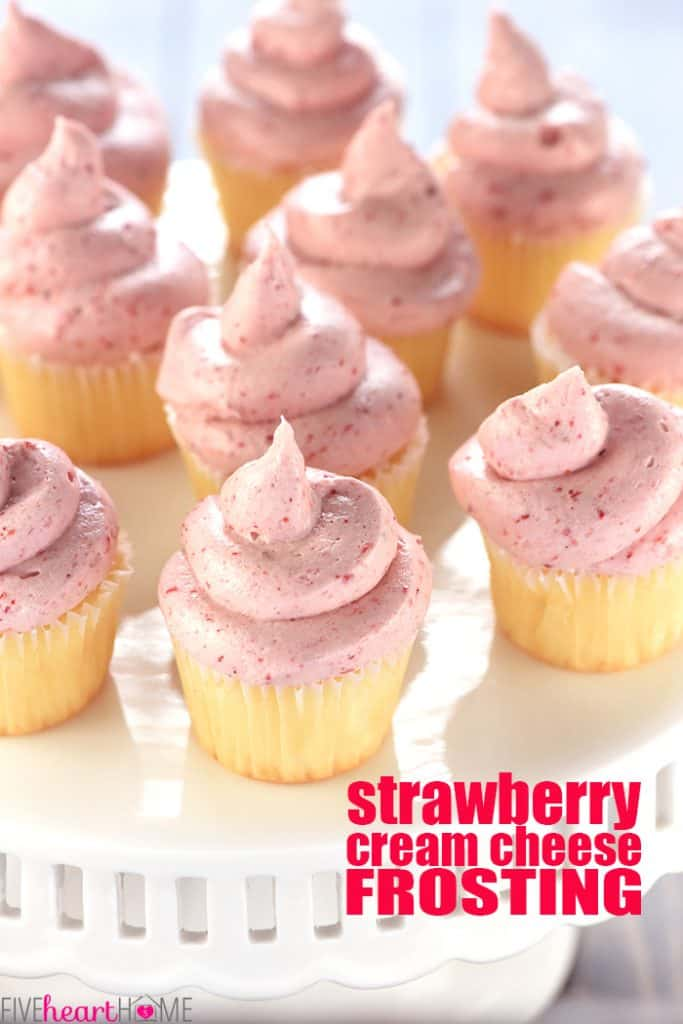 Strawberry Cream Cheese Frosting with text overlay