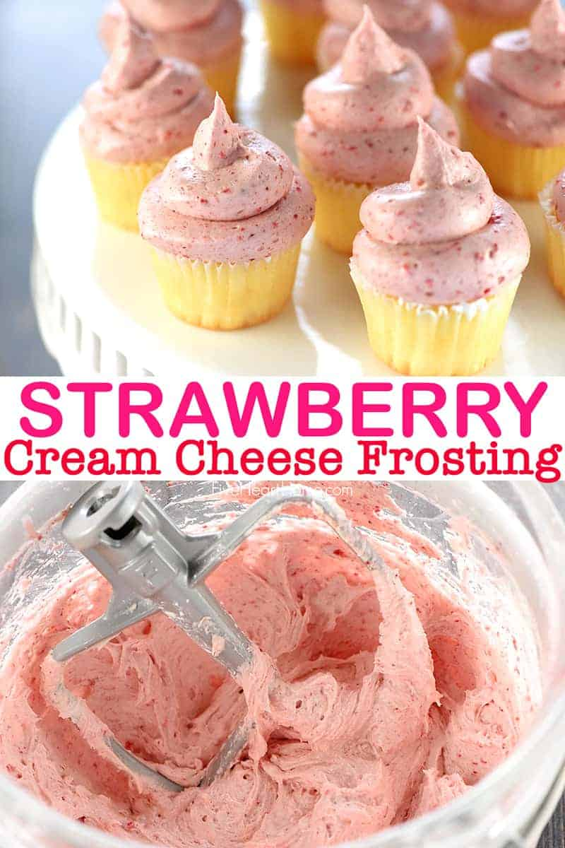 Strawberry Cream Cheese Frosting collage with text in between photos
