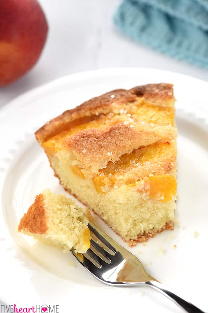 Summer Peach Cake with Fork