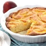 Summer Peach Cake ~ a delectable summer dessert recipe featuring fresh sliced peaches sunken into a sweet golden cake! | FiveHeartHome.com