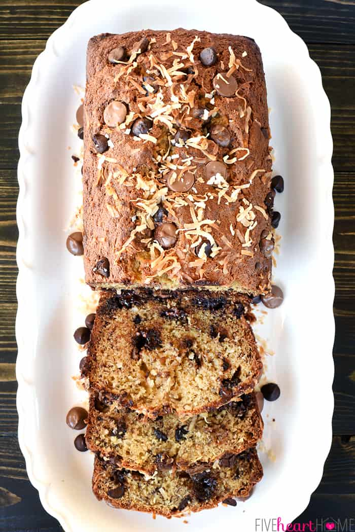 Chocolate Coconut Banana Bread ~ a soft, moist, easy-to-make quick bread bursting with ripe banana, creamy chocolate chips, and chewy coconut! | FiveHeartHome.com