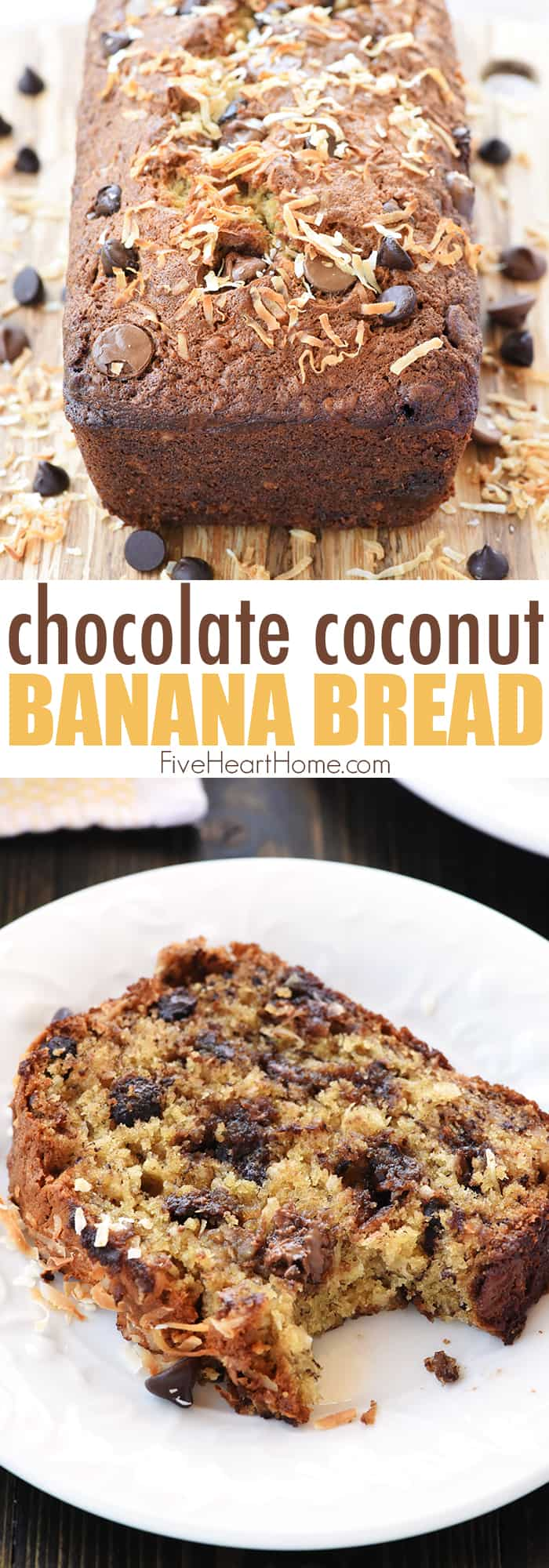 Chocolate Coconut Banana Bread Collage with Text Overlay