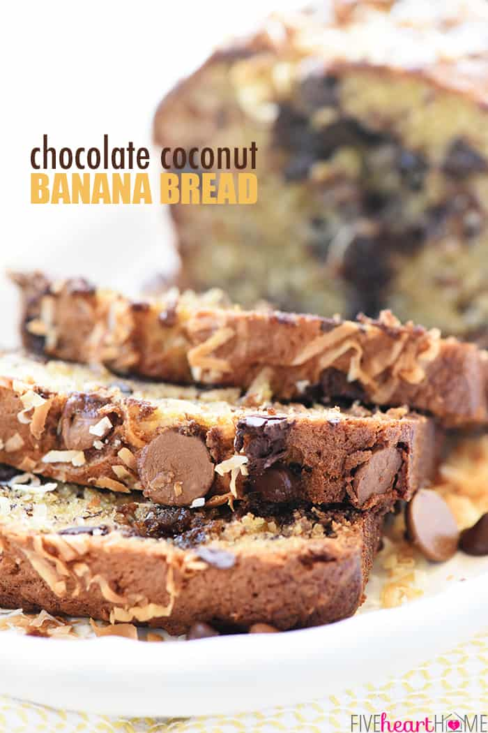 Chocolate Coconut Banana Bread with Text Overlay