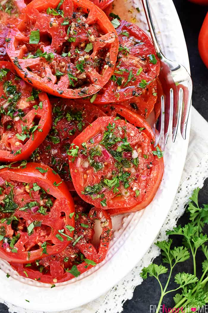 Close-up of The BEST Marinated Tomatoes